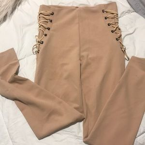 Lace up detail nude pants